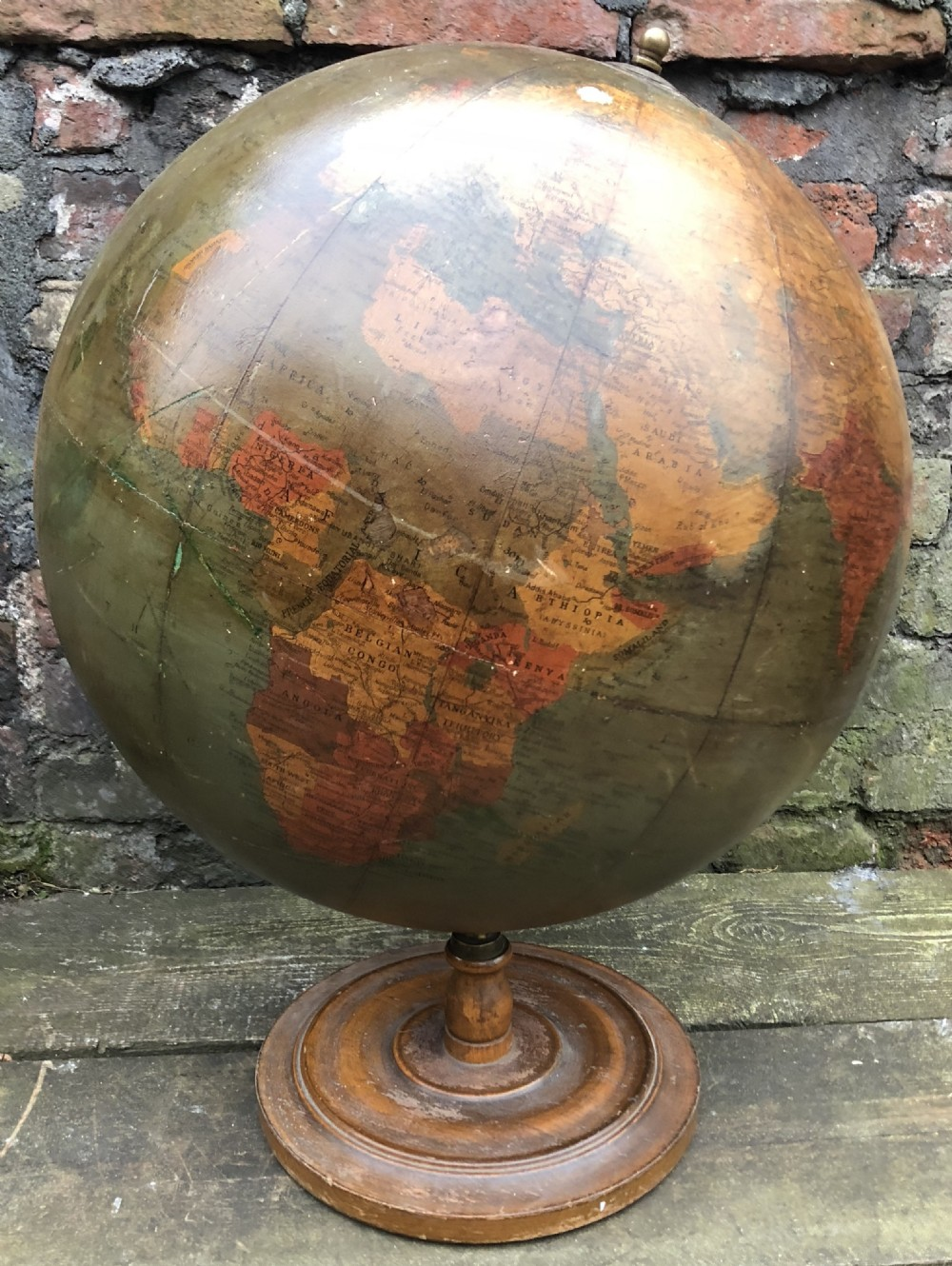 large 20 inch phillips atlas globe on wooden stand