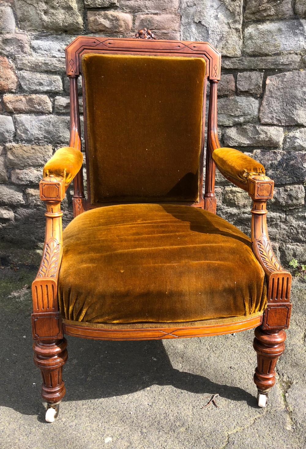c19th walnut show wood armchair