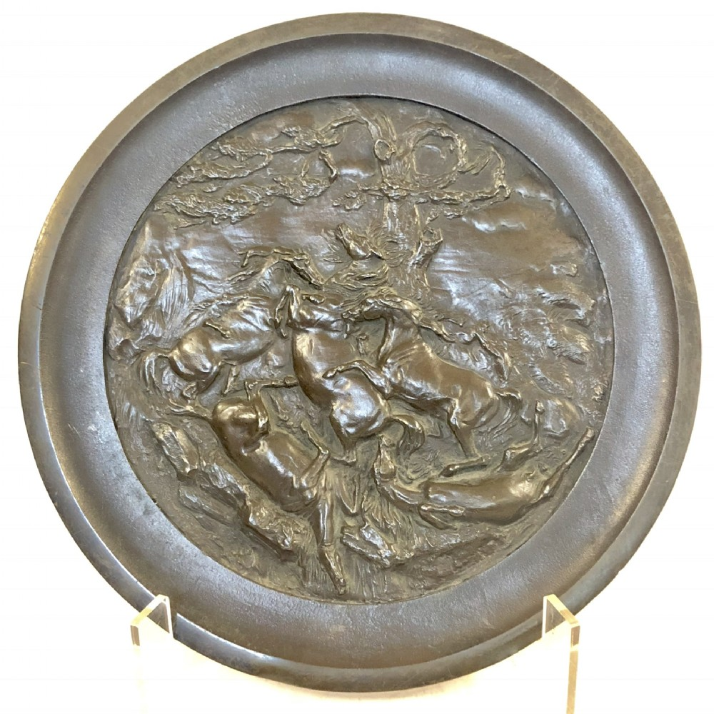 large antique bronze circular charger
