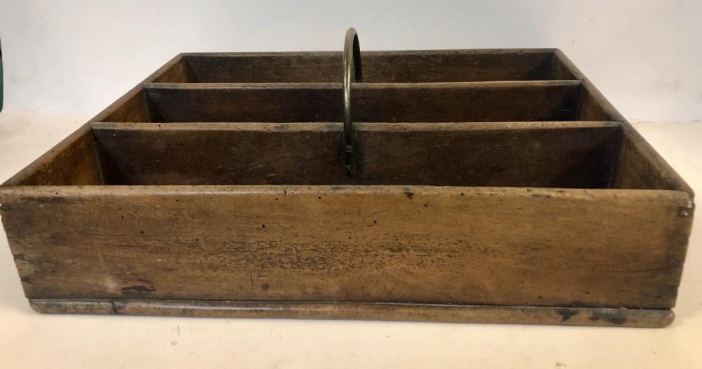 c19th fruitwood cutlery box