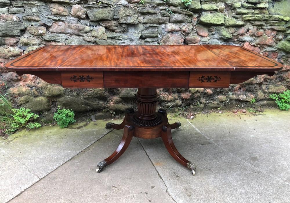 regency mahogany sofa table inlayed in ebony