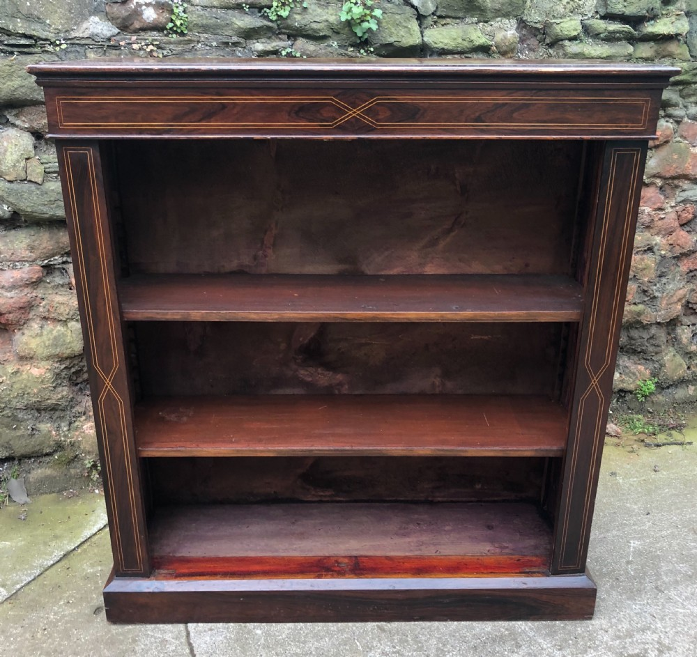 small c19th rosewood veneered and inlaid bookcase