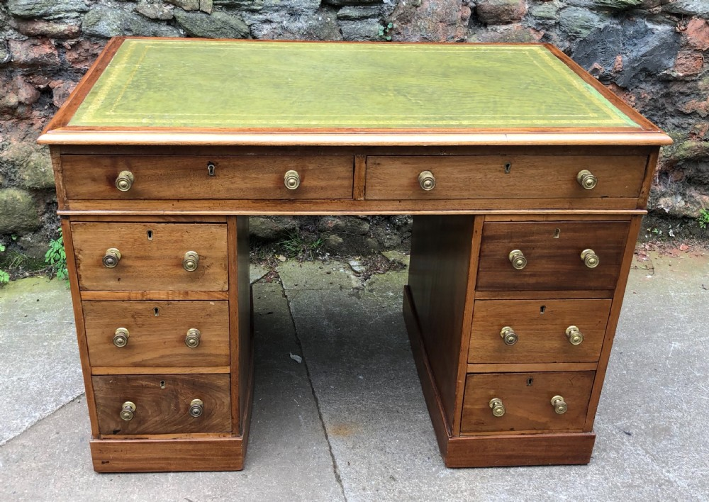 c19th small mahogany pedestal desk