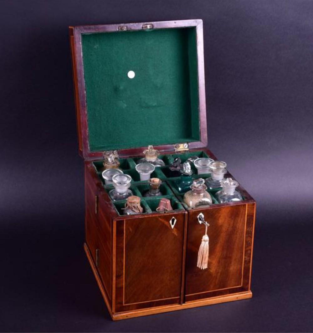 early c19th mahogany medicine cabinet