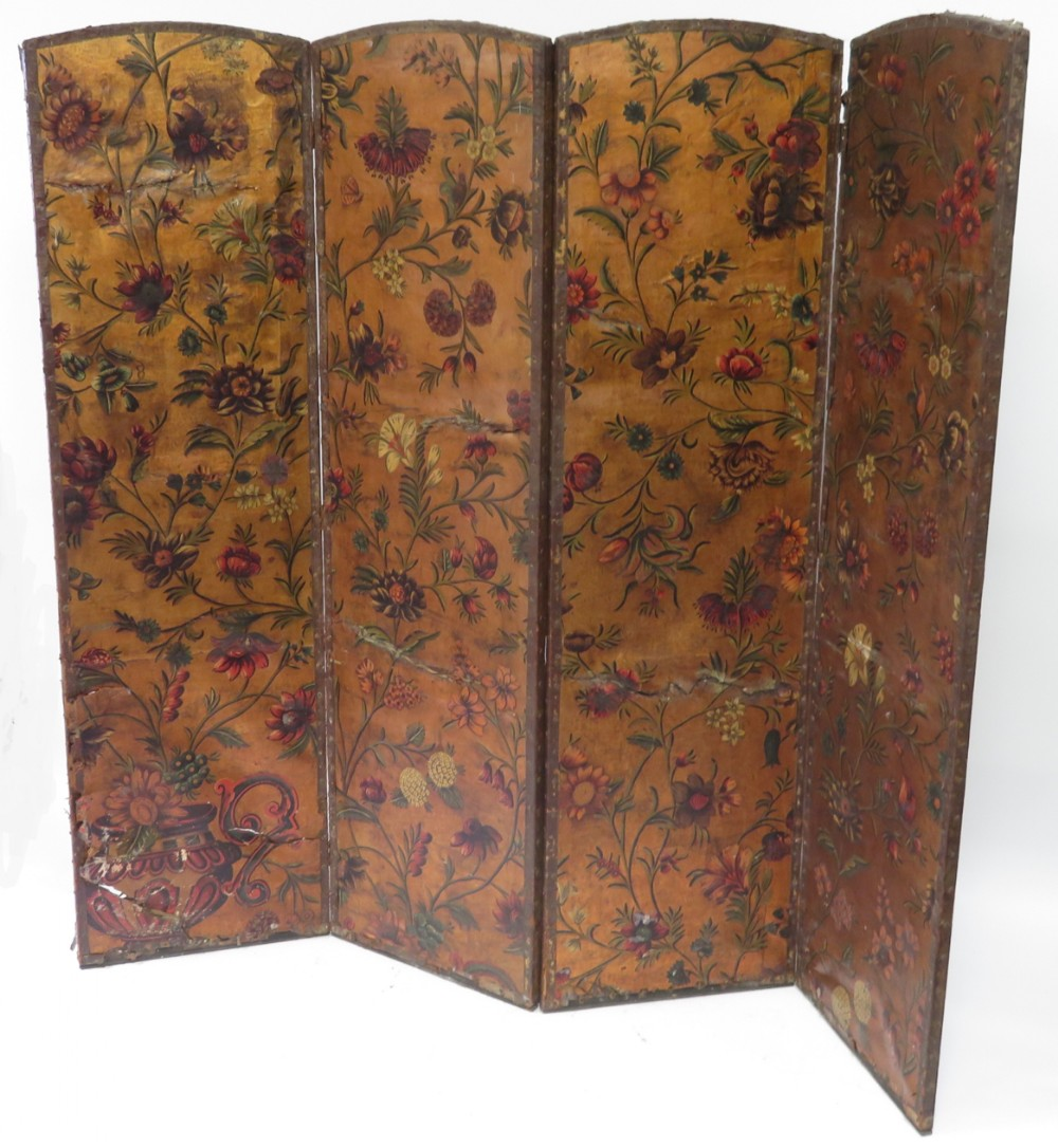 a c19th four fold painted leather screen