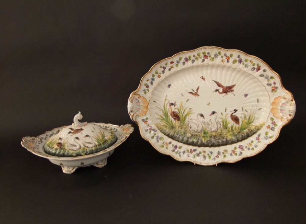 c19th naples covered tureen and stand