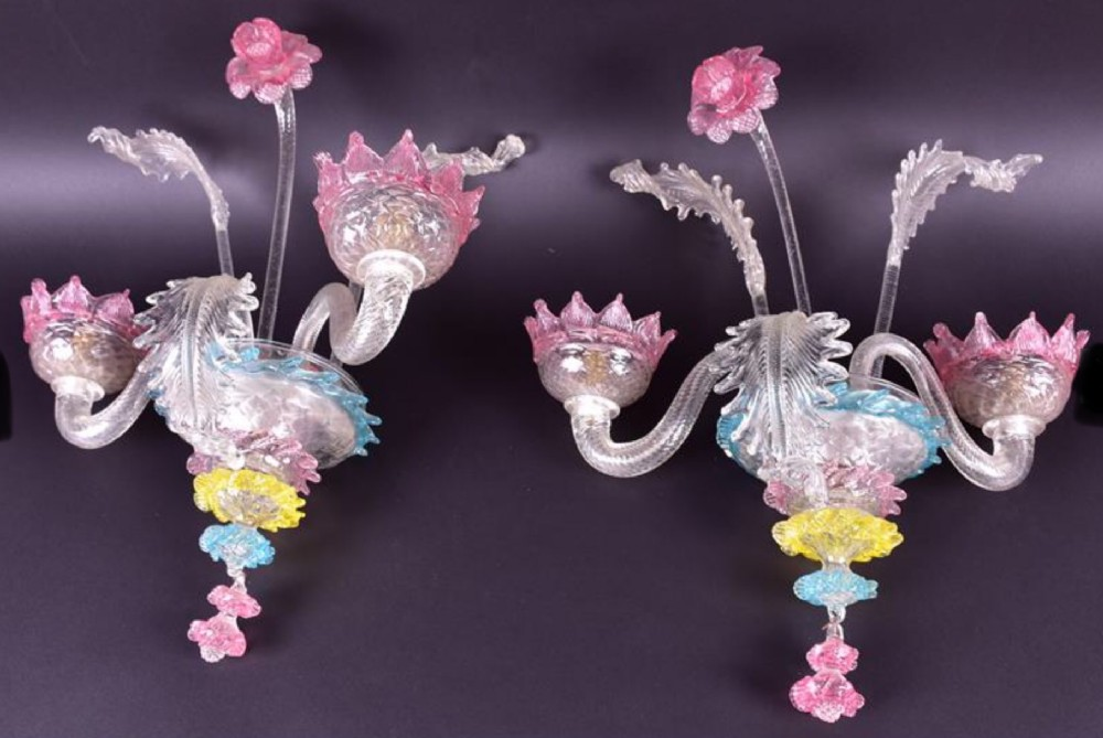 a pair of venetian murano glass wall lights