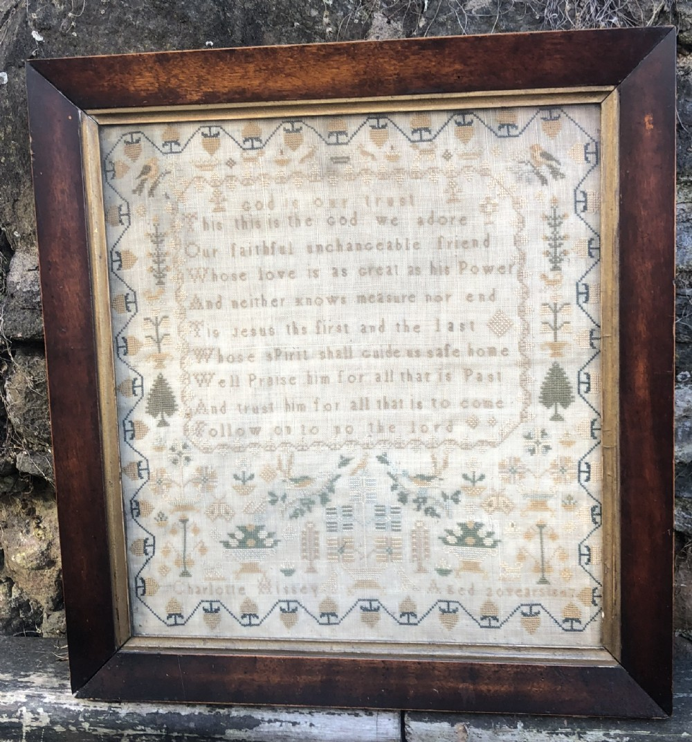 c19th woolwork sampler by charlotte hissy 1847