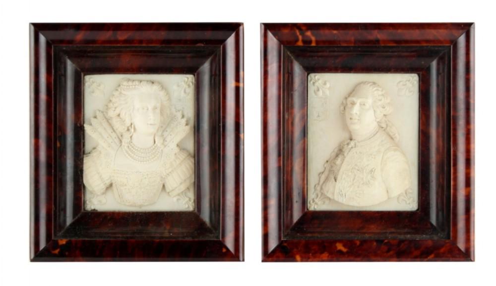 pair of tortoishell framed dieppe ivory carvings of louis xvi and marie antoinette