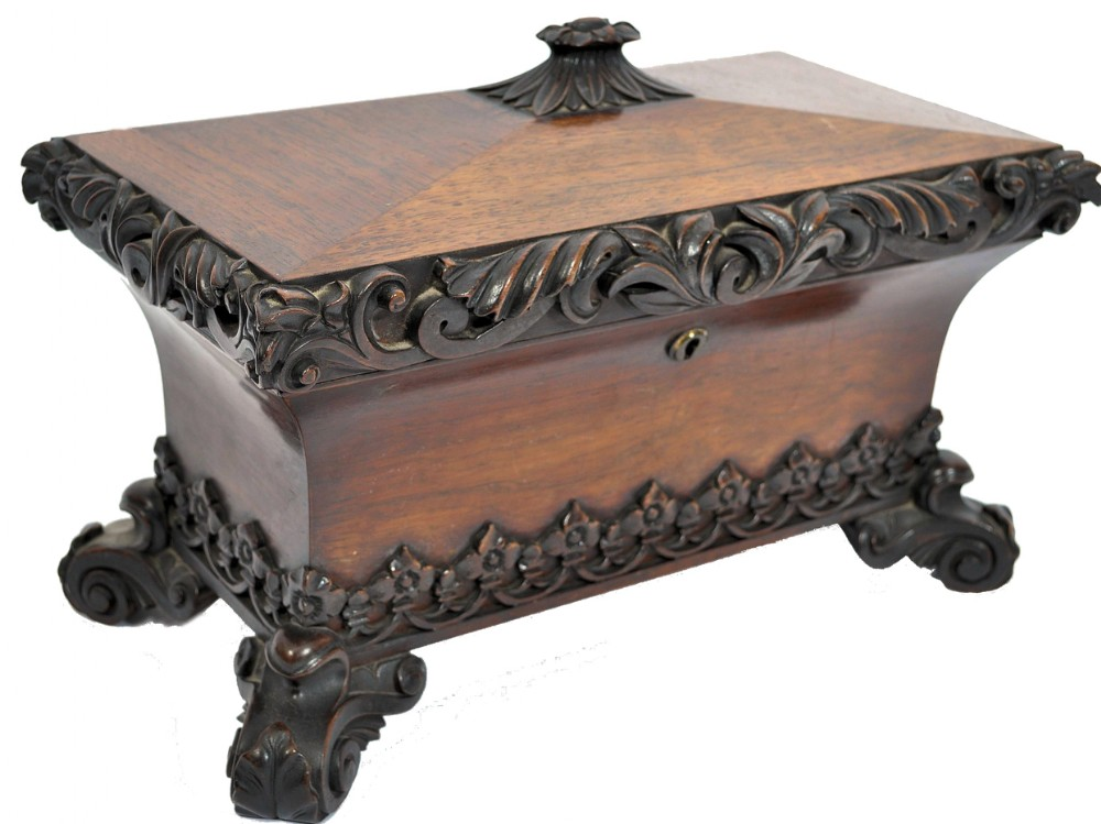 large early c19th rosewood sarcophagus tea caddy