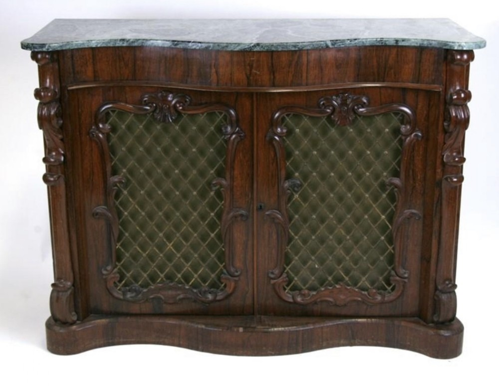 c19th rosewood side cabinet with marble top