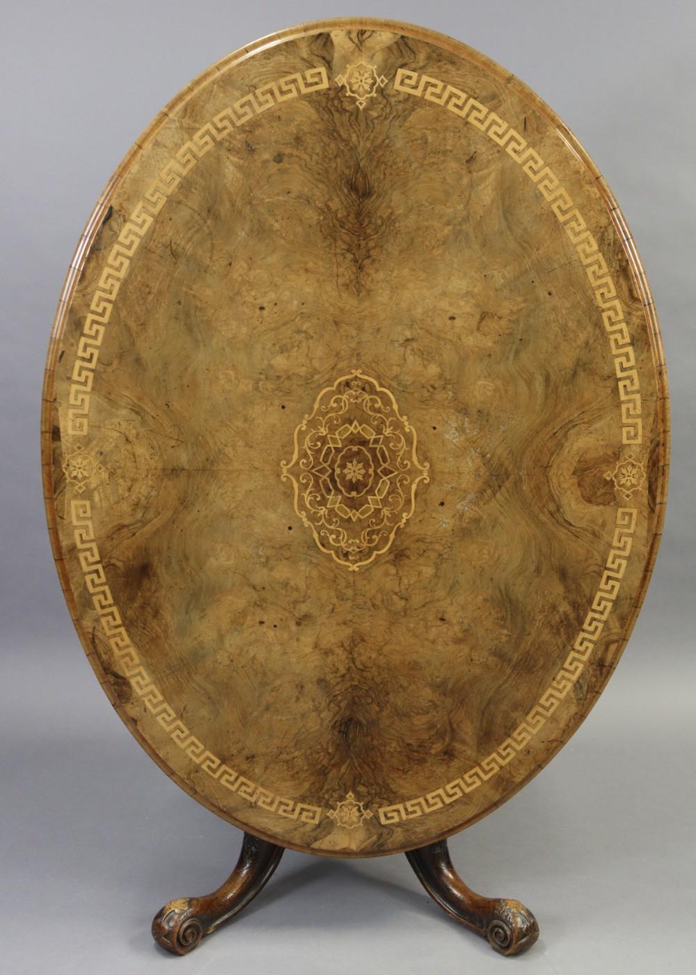 mid victorian large inlaid oval loo table