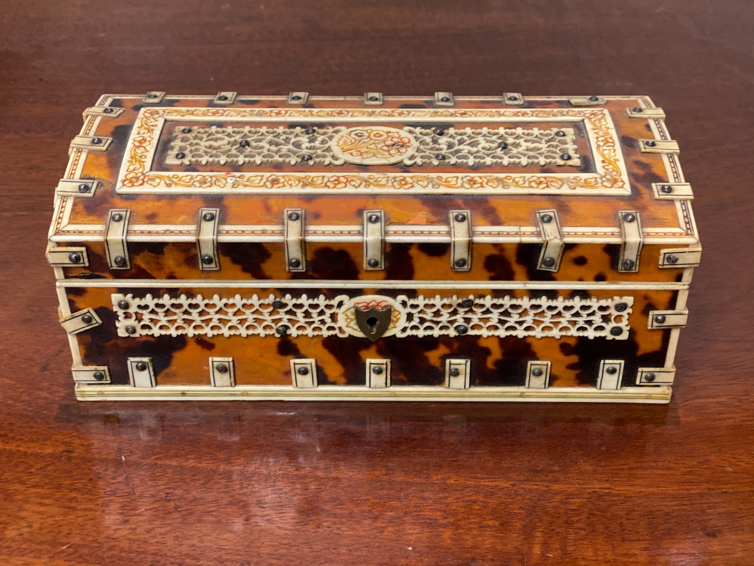 c19th tortoiseshell and ivory casket