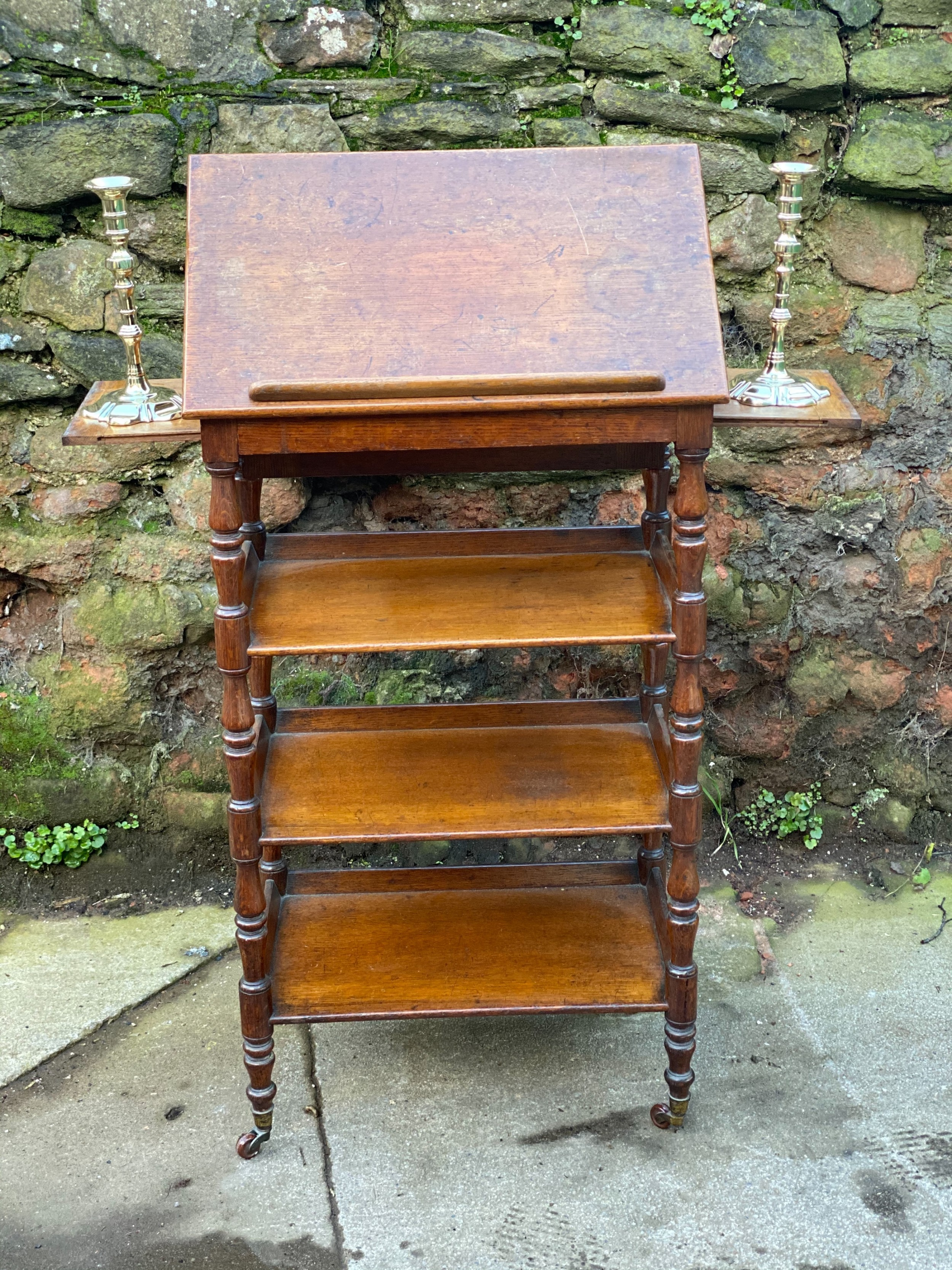 small william iv oak library reading drawing what not with four tiers