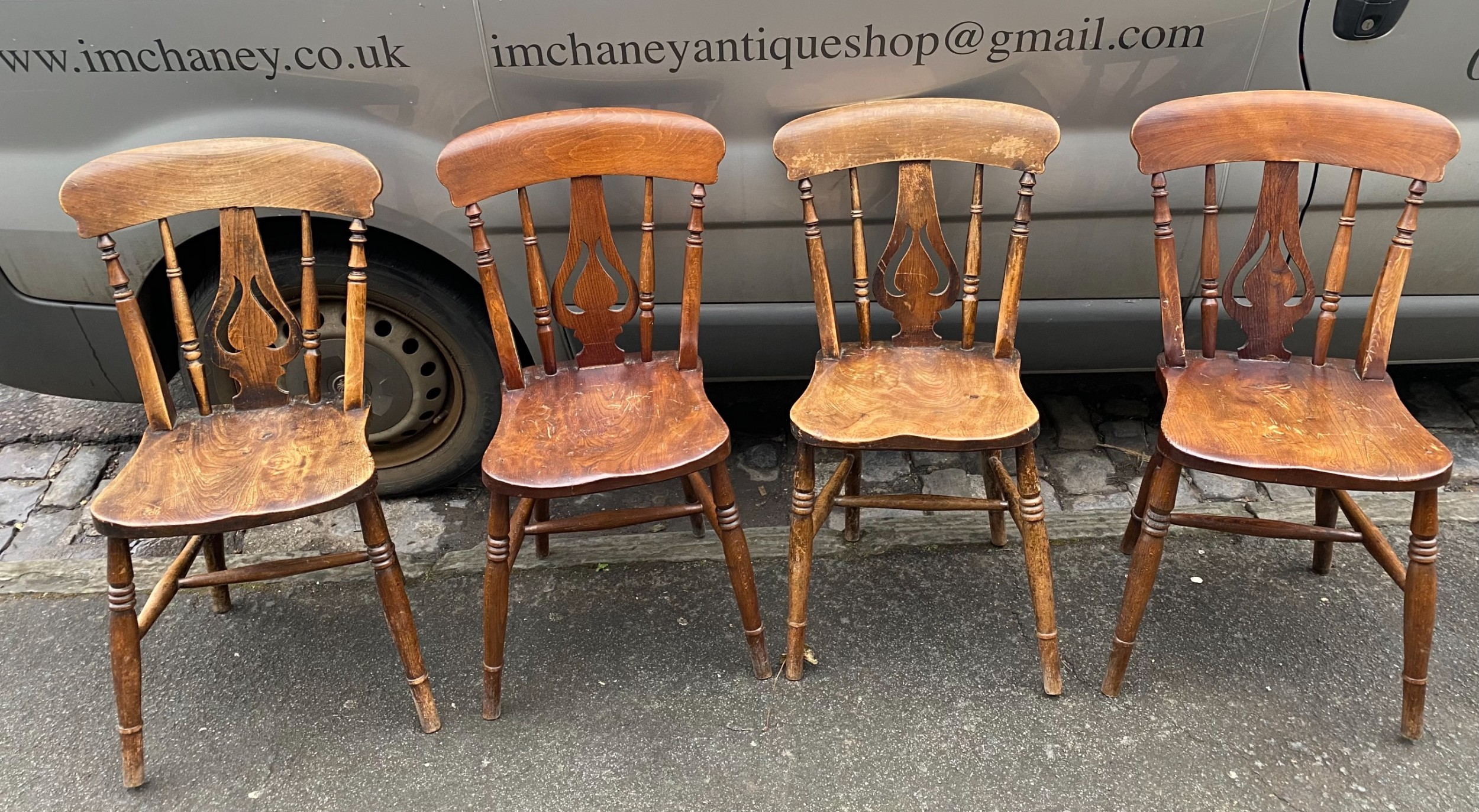 set of four elm and beech country kitchen chairs