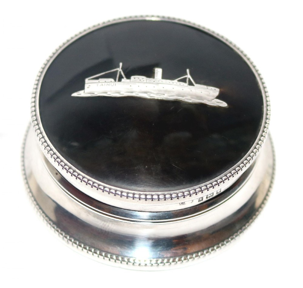 marine interest a rare solid silver pique trinket box with liner ship 1925