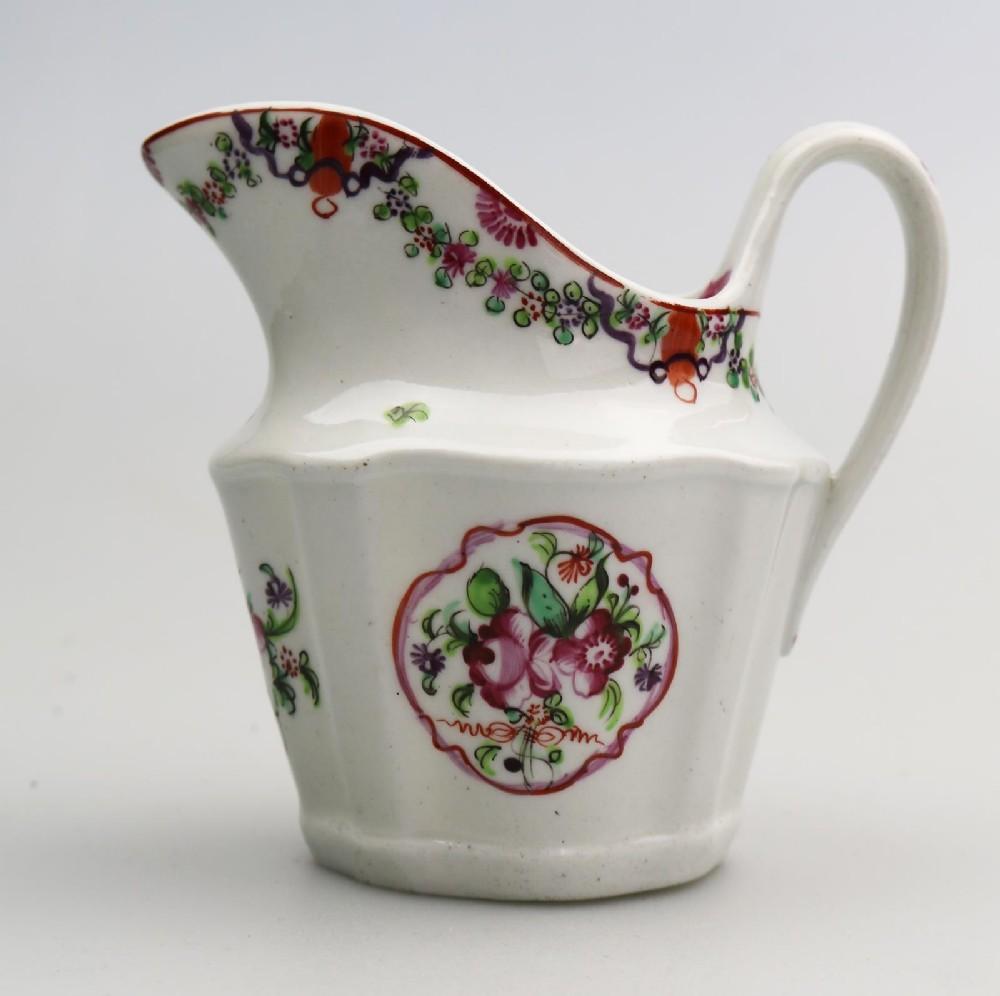 a very pretty georgian new hall porcelain floral jug c1790
