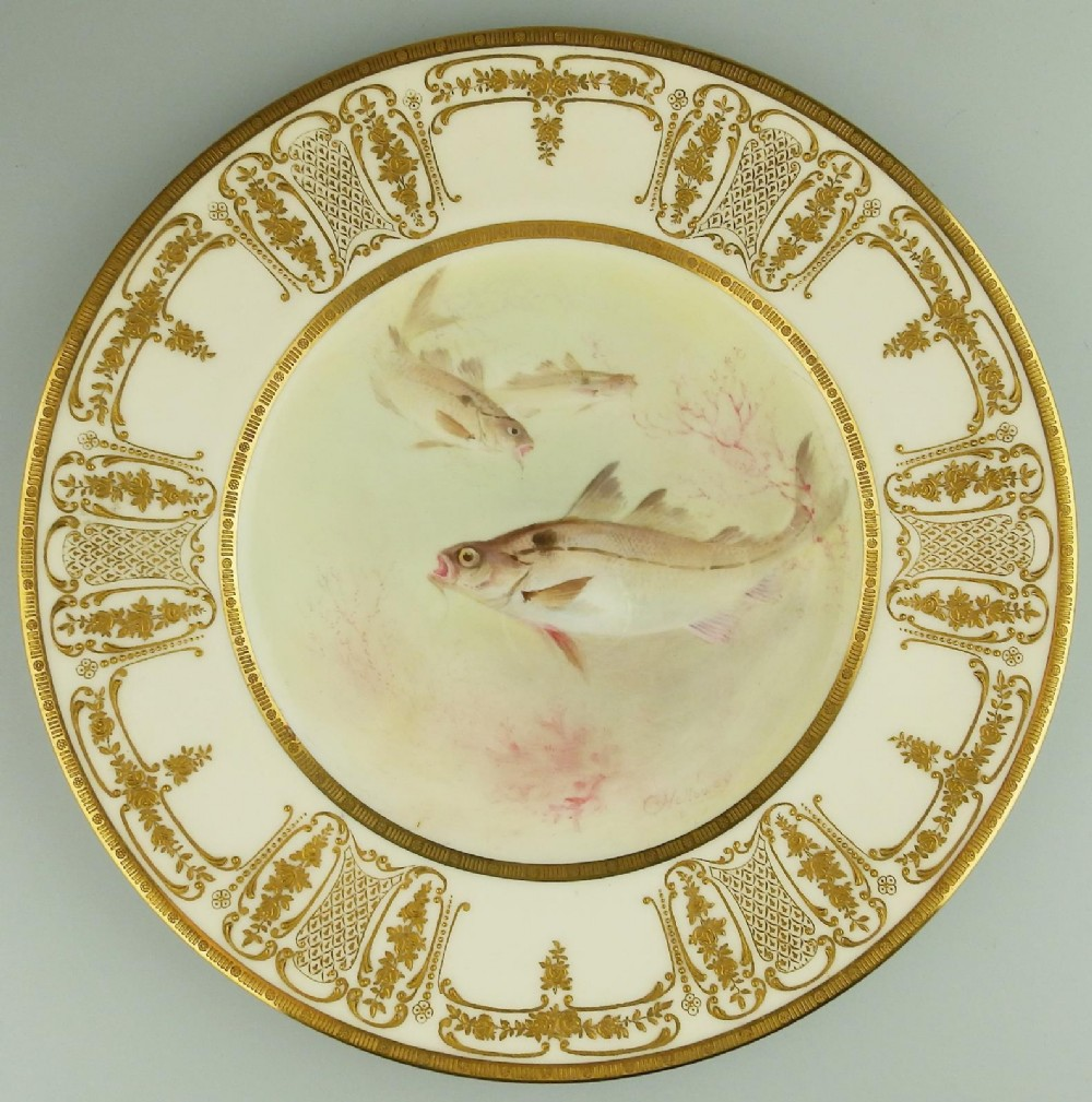 a fine royal doulton signed porcelain hand painted royal fish cabinet plate 1900
