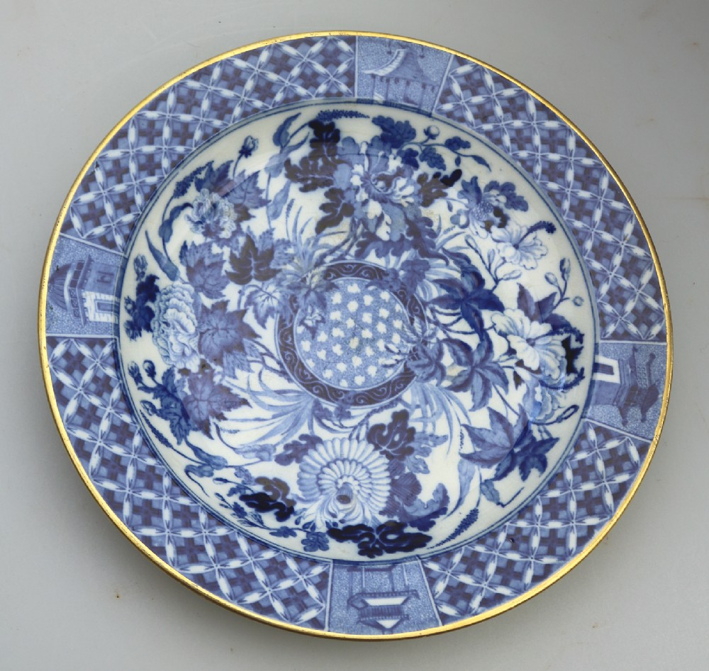 an attractive wedgwood bw transferware hibiscus pattern plate c19thc