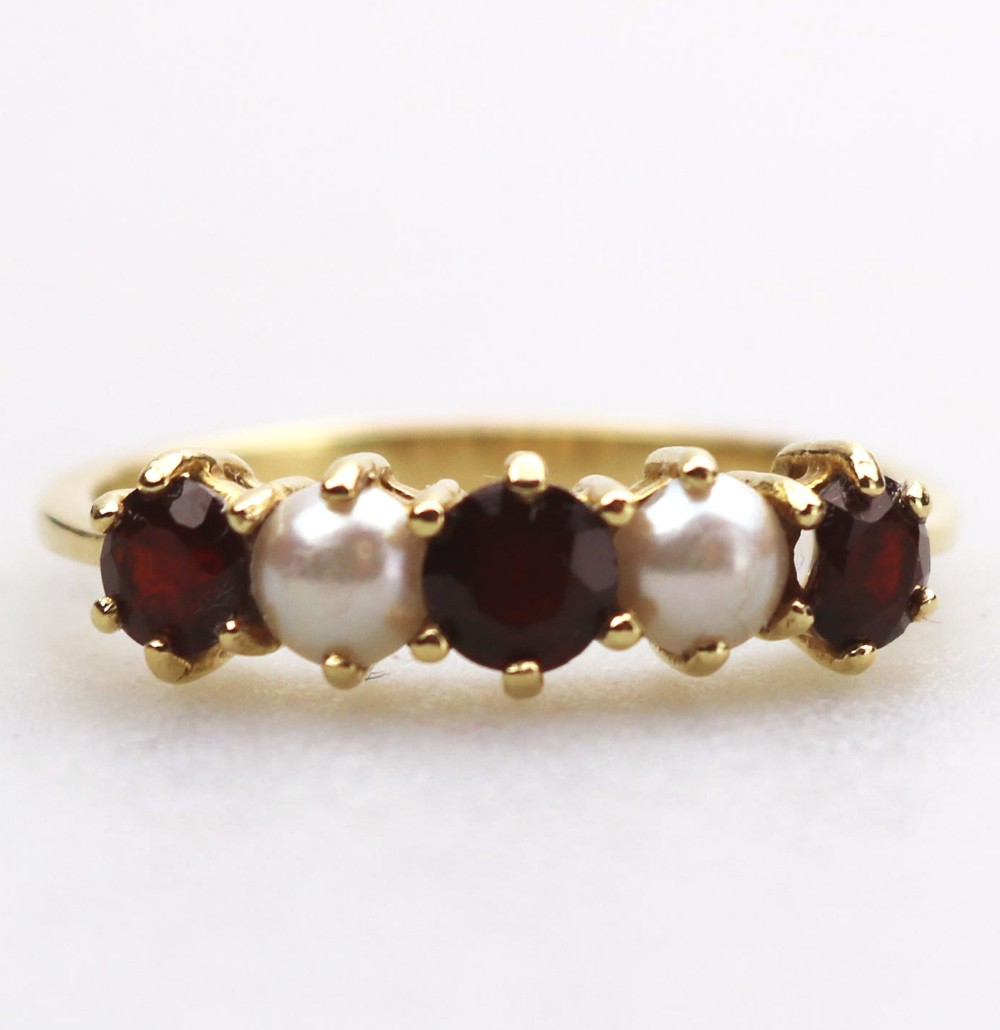 a fine 18ct gold pearl garnet ring size r boxed clate 19thc early 20thc