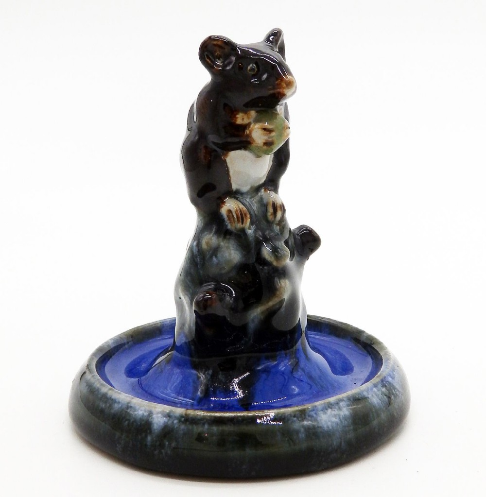 doulton lambeth antique art pottery rare mouse bibelot ring tree c 1920's