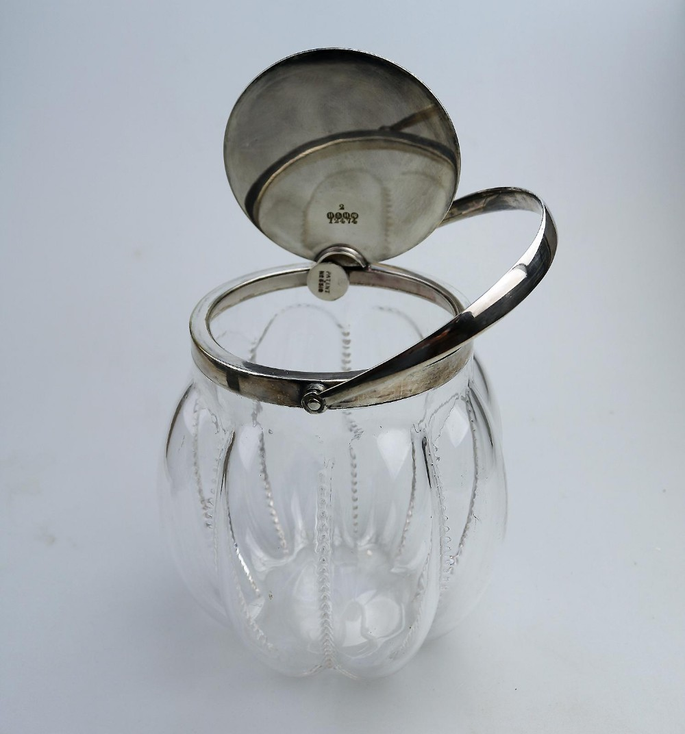 antique silver plate novelty automatic opening hukin heath biscuit jar c1910