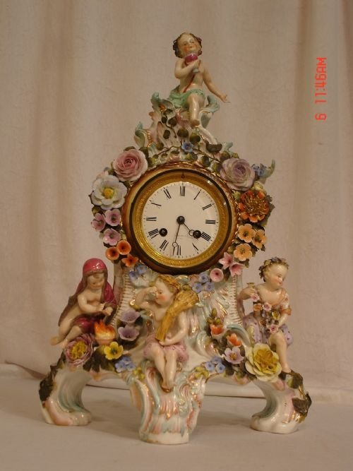 19th century dresden porcelain clock