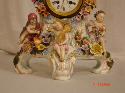 19th century dresden porcelain clock - photo angle #2
