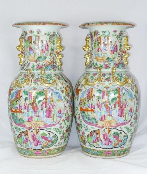 Pair 19th Century Chinese Canton Vases 124998 Sellingantiques