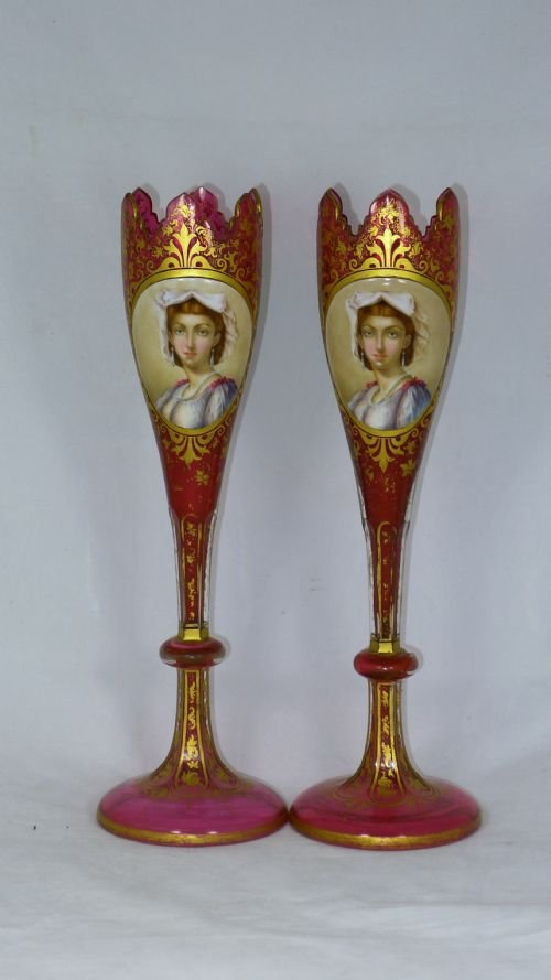 decorative pair 19th century bohemien overlay vases