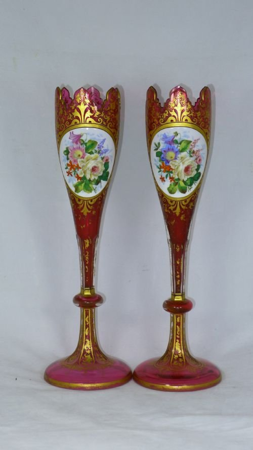 decorative pair 19th century bohemien overlay vases - photo angle #2