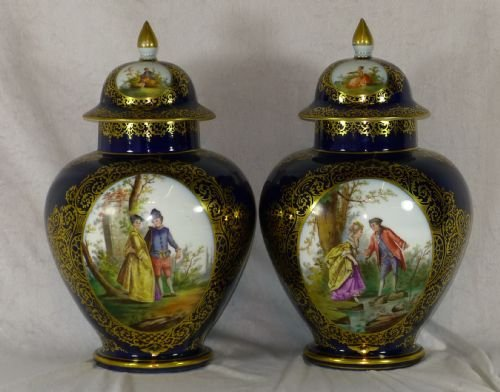 Pair Hand Painted 19th Century Dresden Lidded Vases 158802