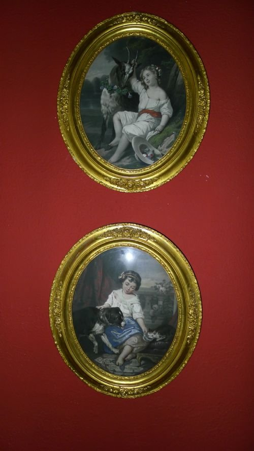 delightful pair 19th century hand coloured victorian prints - photo angle #4