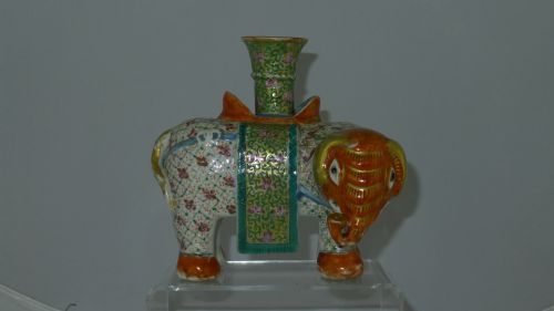 quality 19th century chinese canton elephant candlestick - photo angle #2