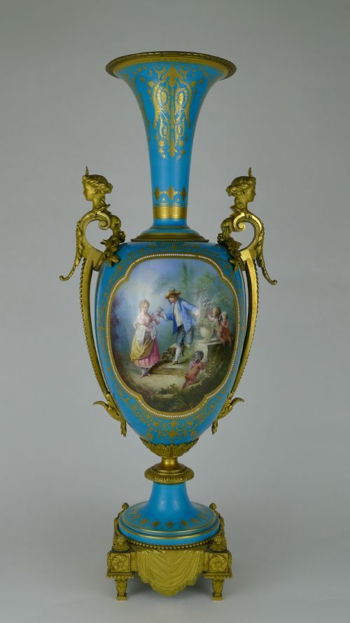 Quality 19th Century French Jewelled Sevres Ormolu Vase 317762