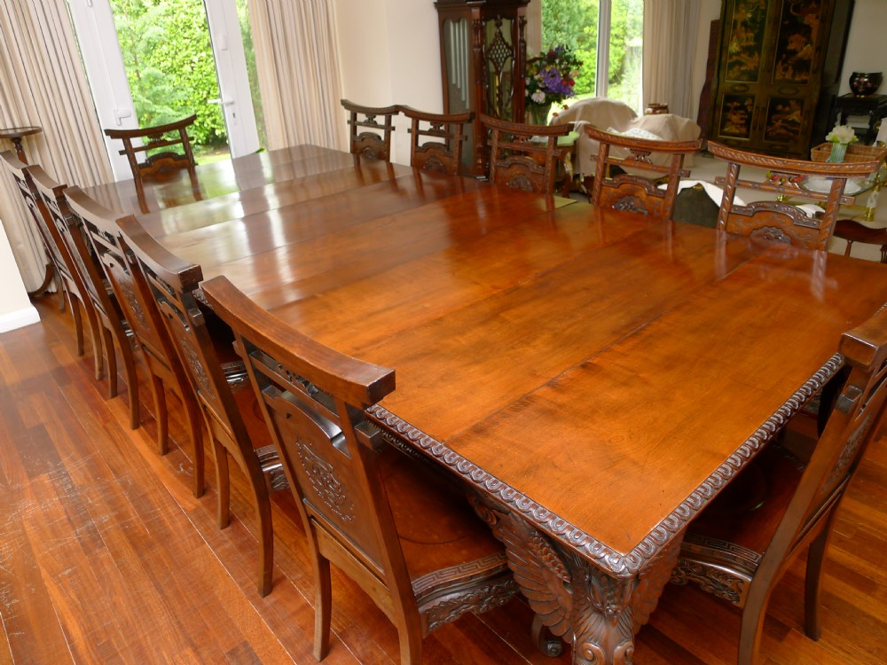 Quality 19th Century Japanese Dining Table And Chairs