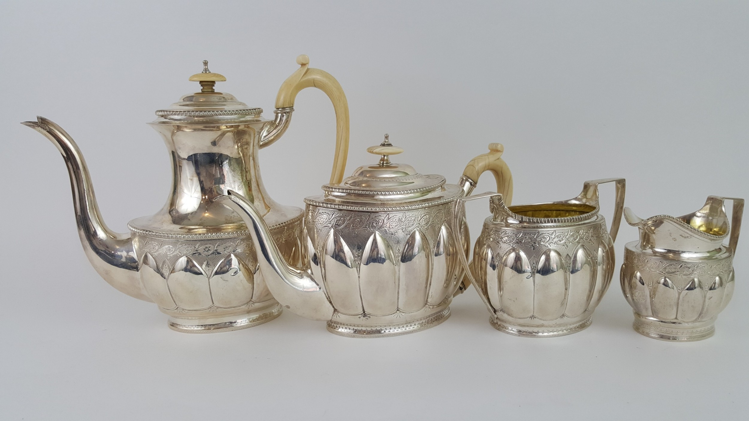 19th century 4 piece victorian tea set