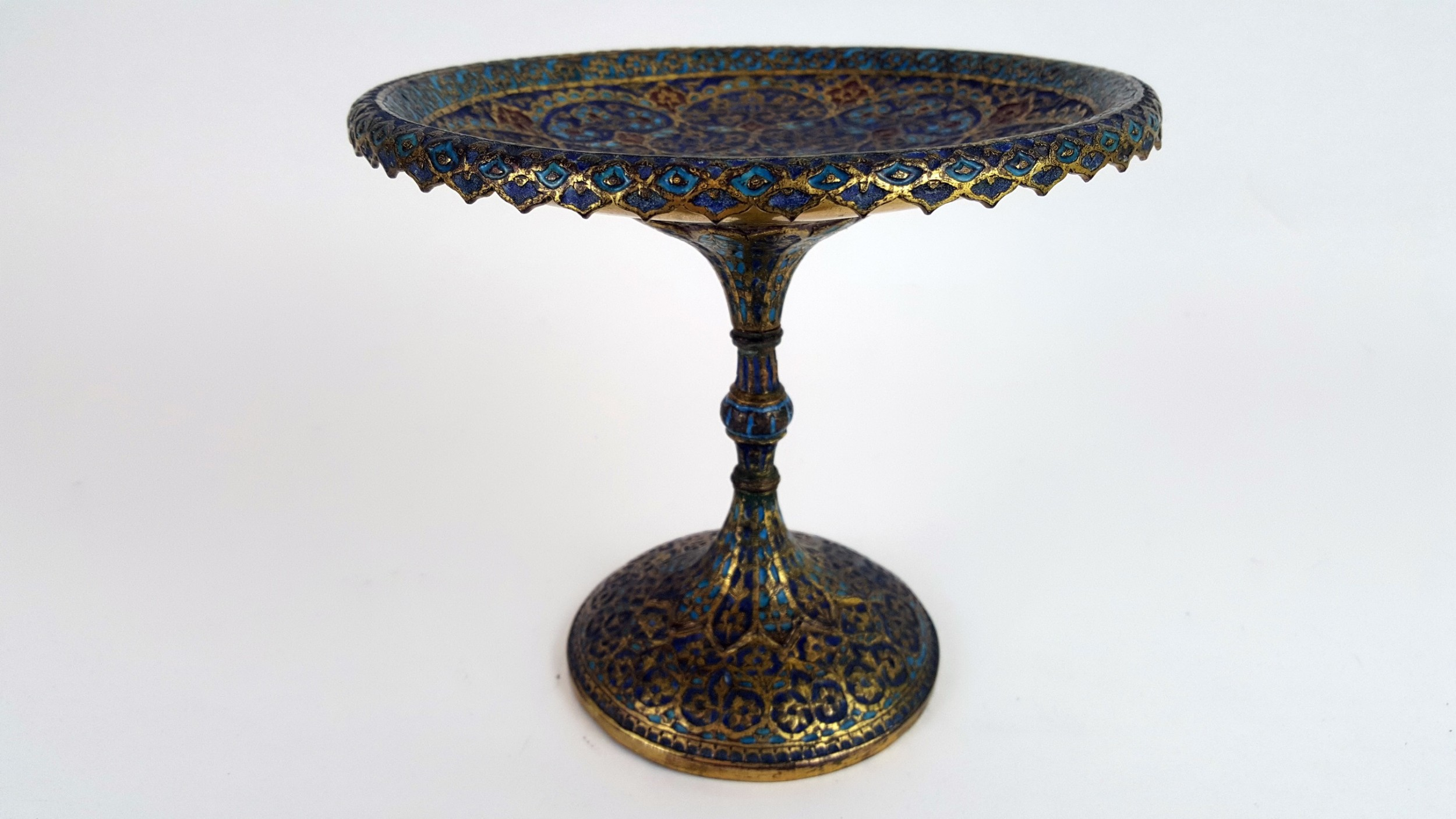 19th century damascus champleve taza