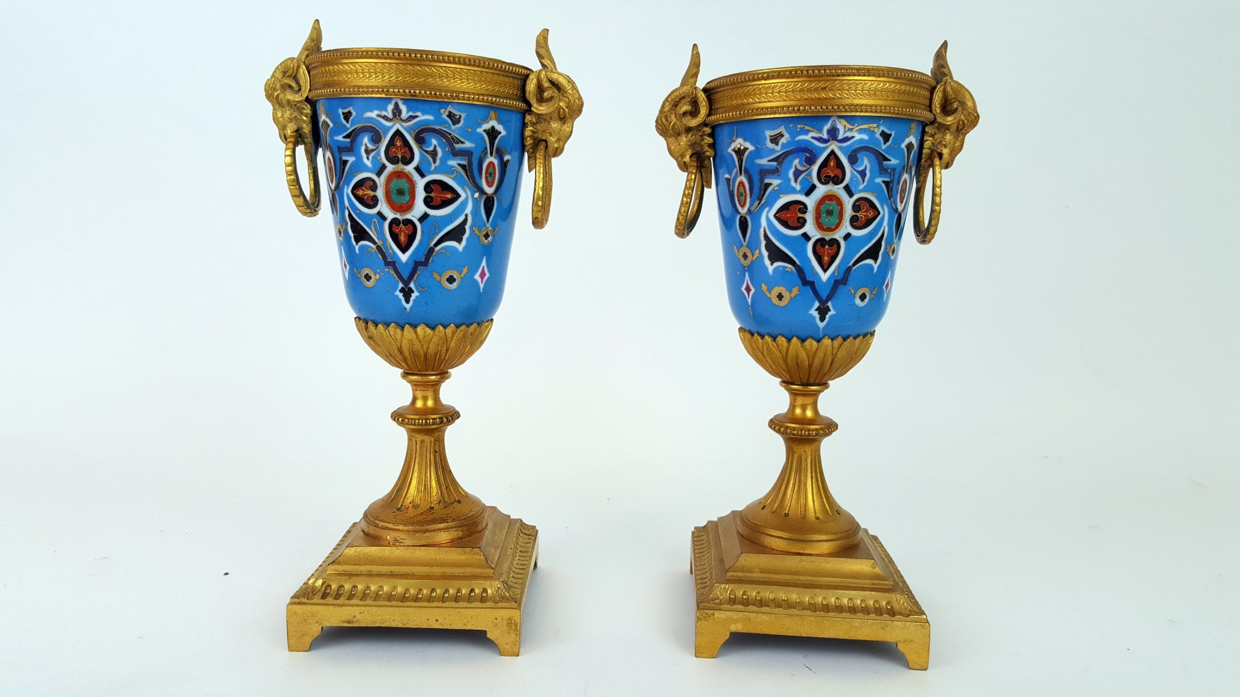 pair of 19th century french gilt bronze porcelain earns