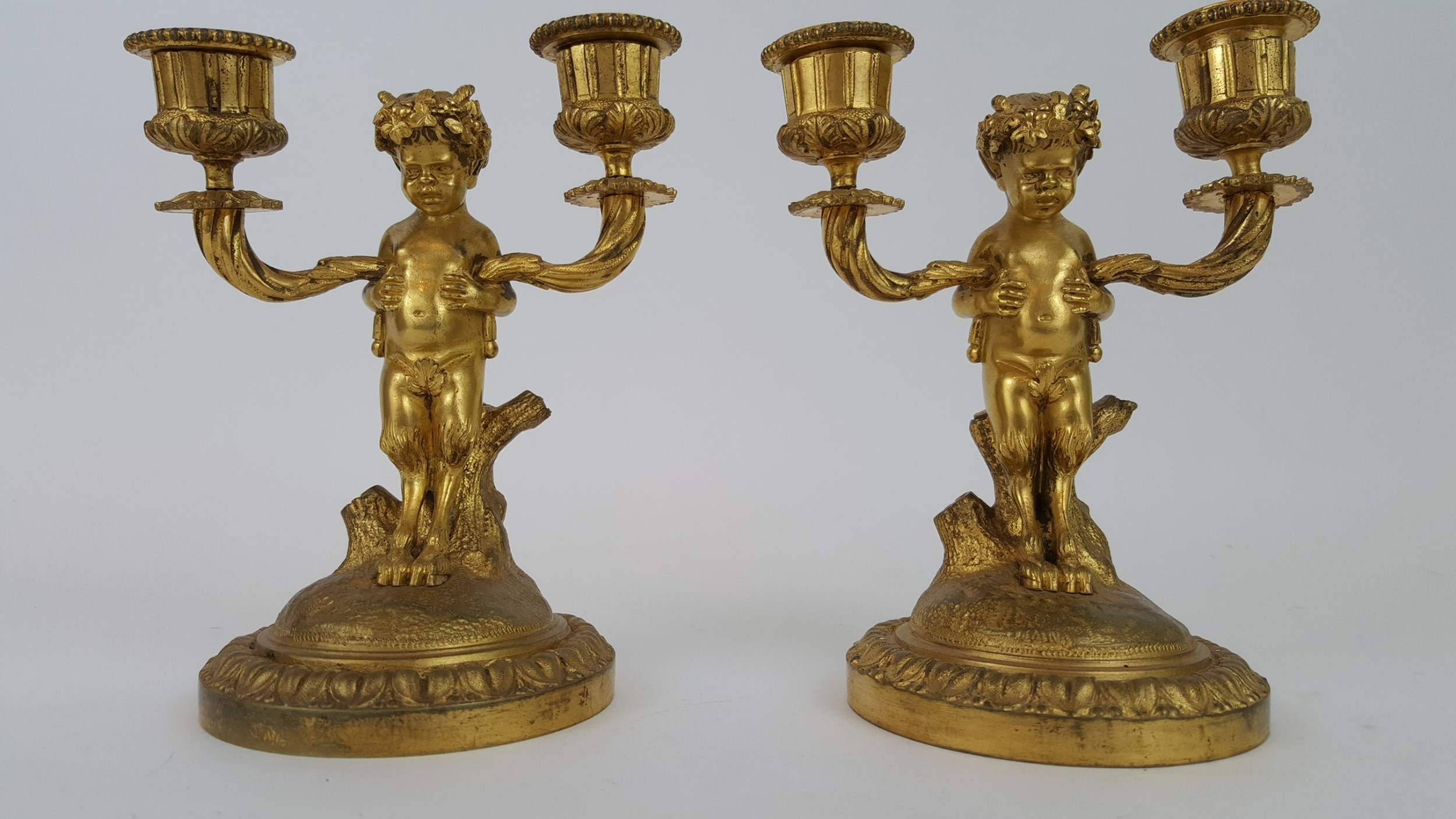 pair of 19th century french bronze candle holders