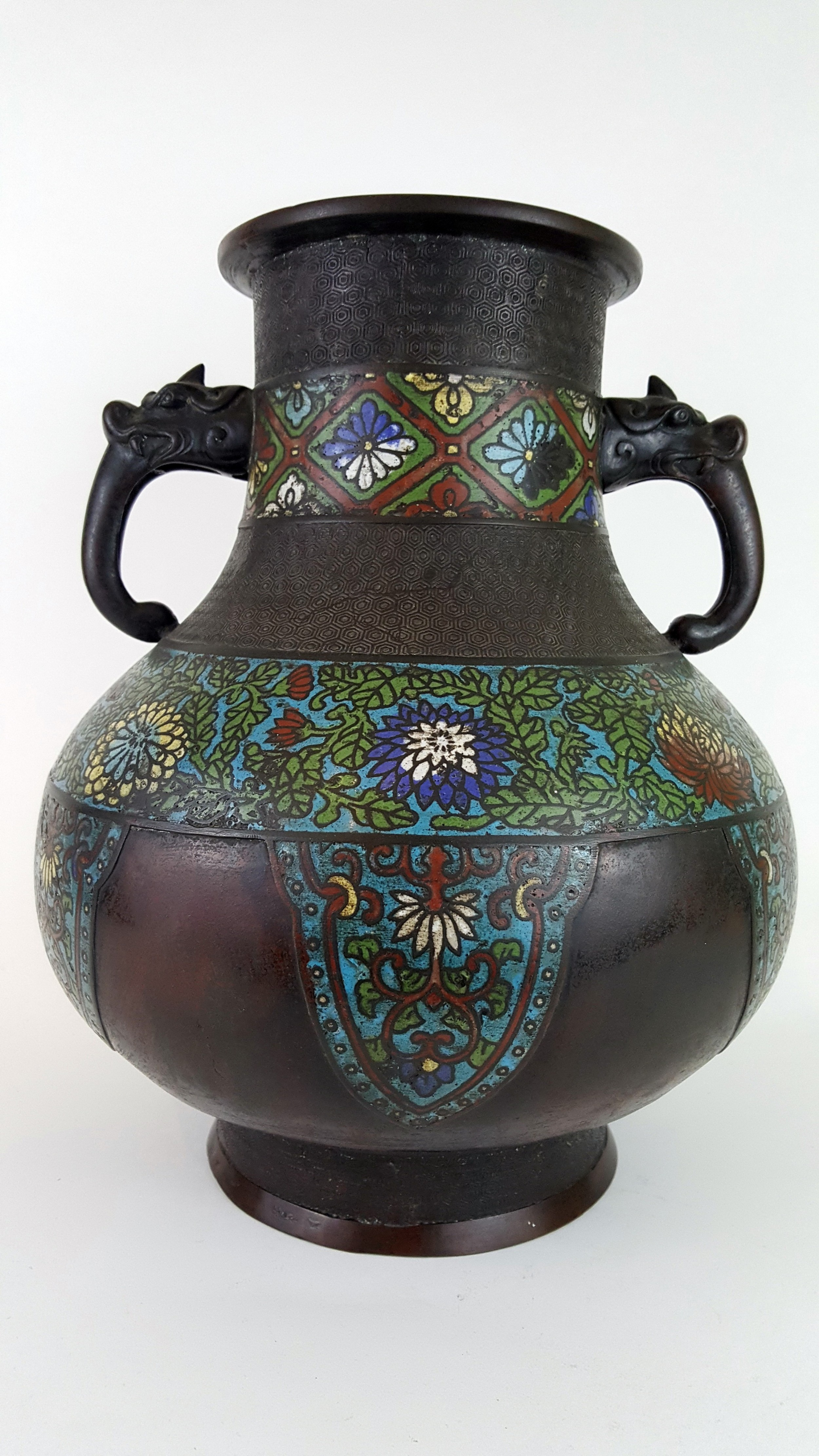 19th century japanese bronze champlev vase
