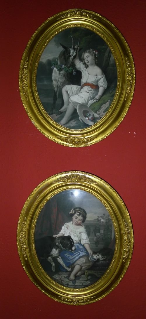 delightful pair 19th century hand coloured victorian prints