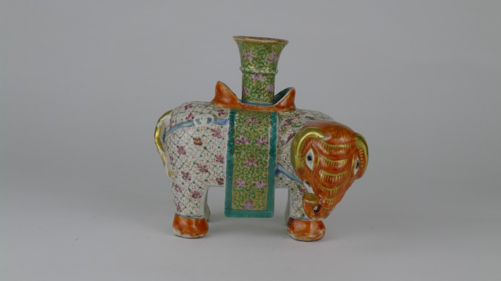 quality 19th century chinese canton elephant candlestick