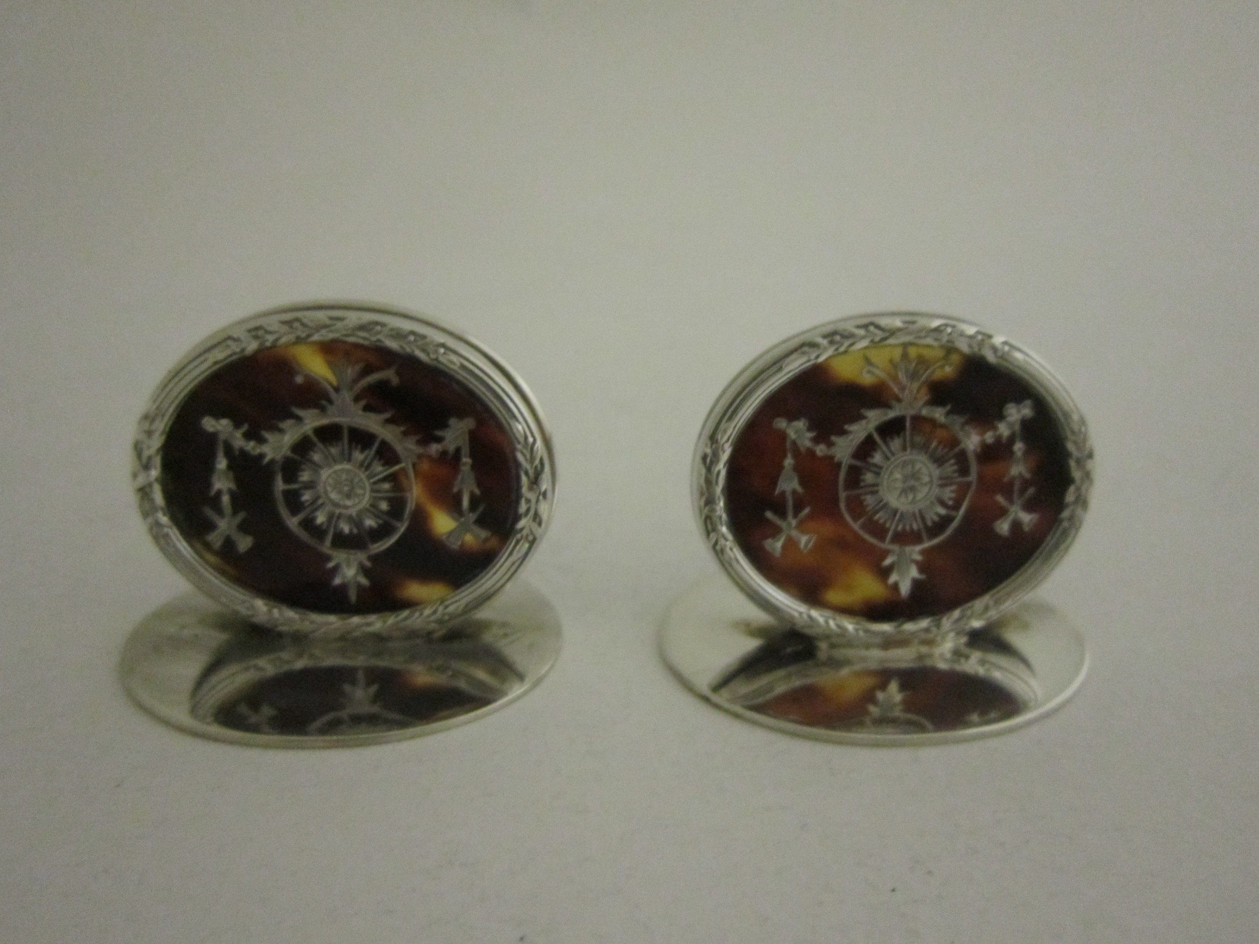 antique george v sterling silver and tortoiseshell menuplace card holders