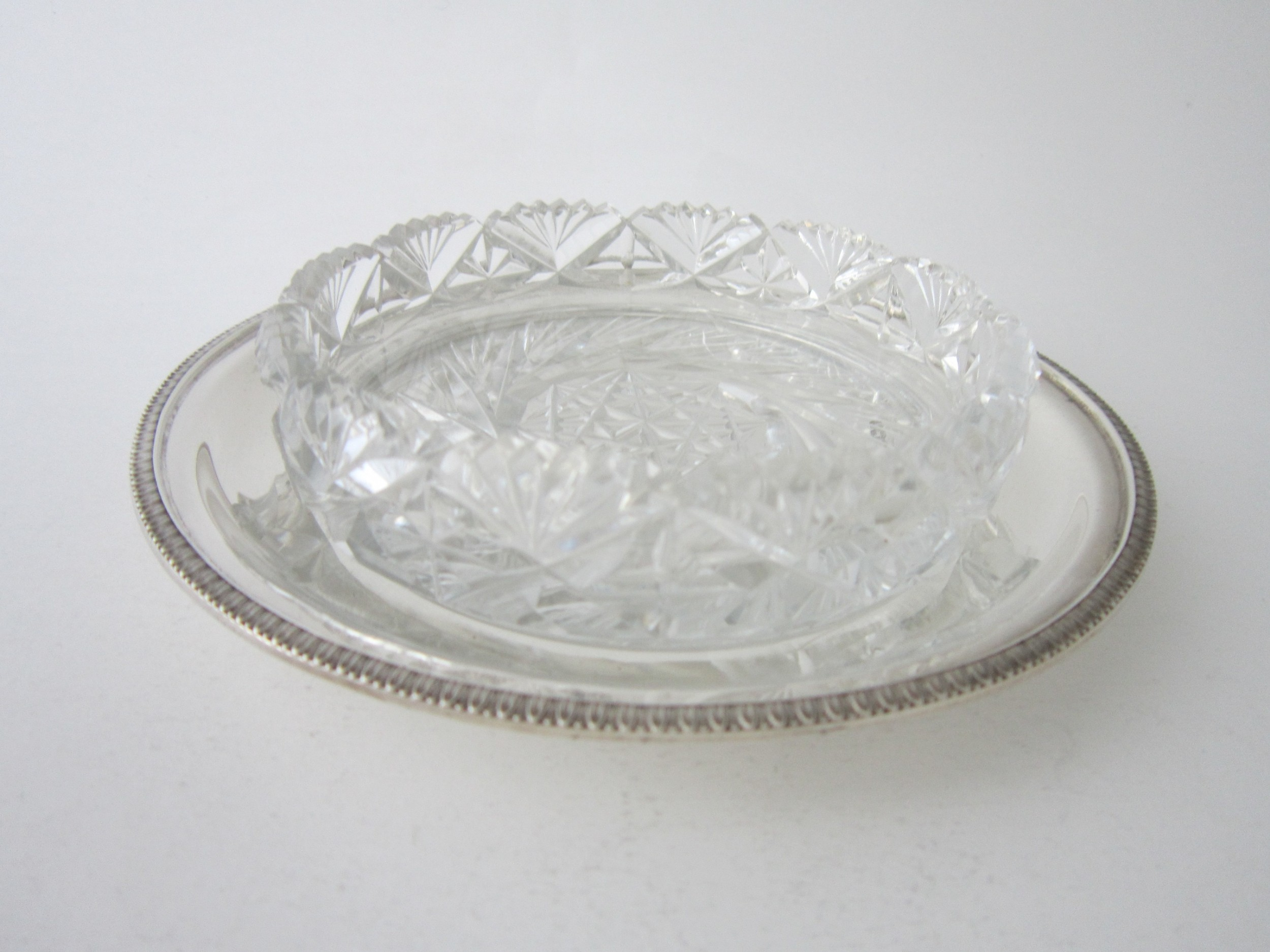 antique george vi sterling silver and glass butter dish