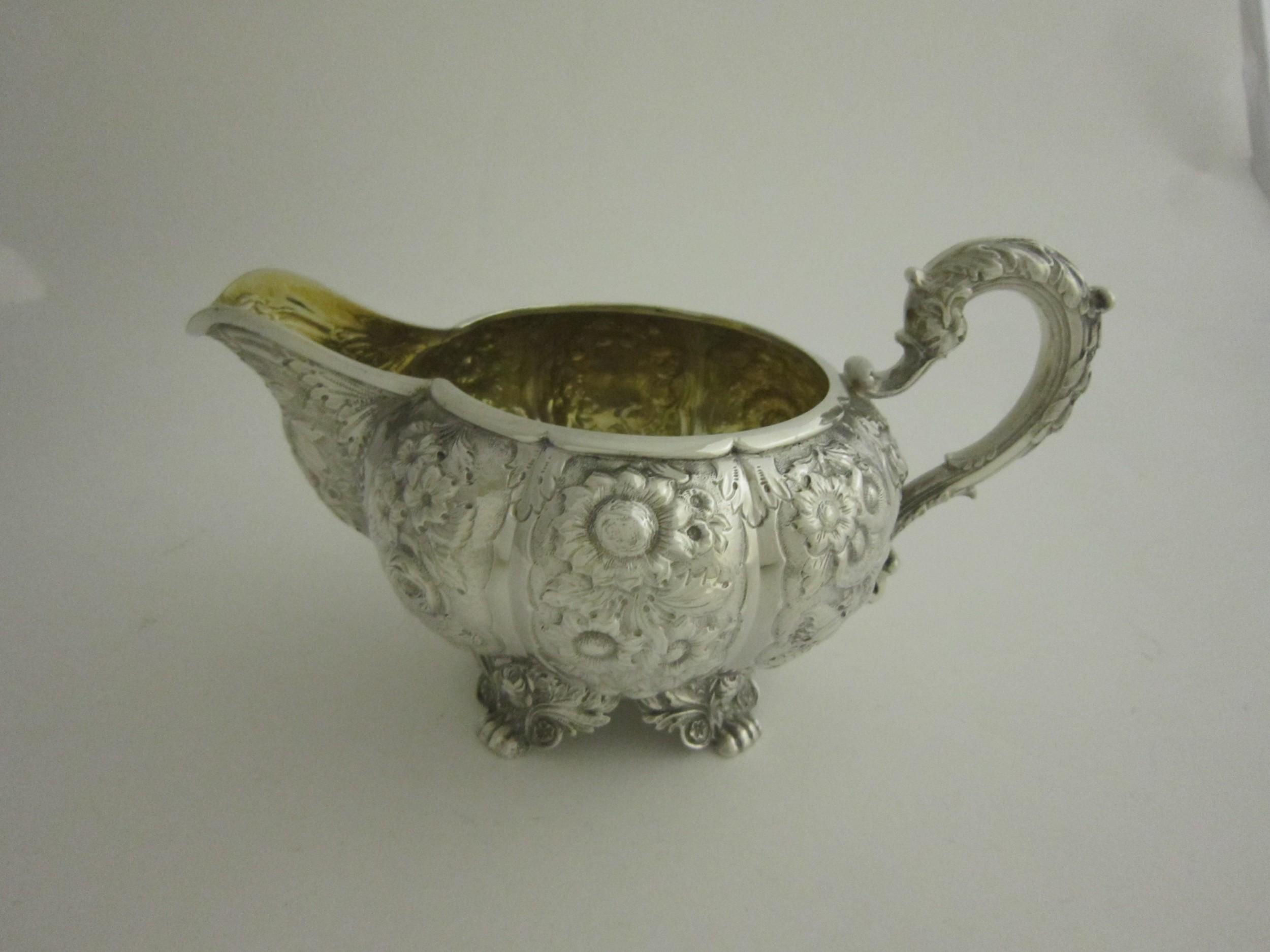 antique william iv sterling silver milk jug