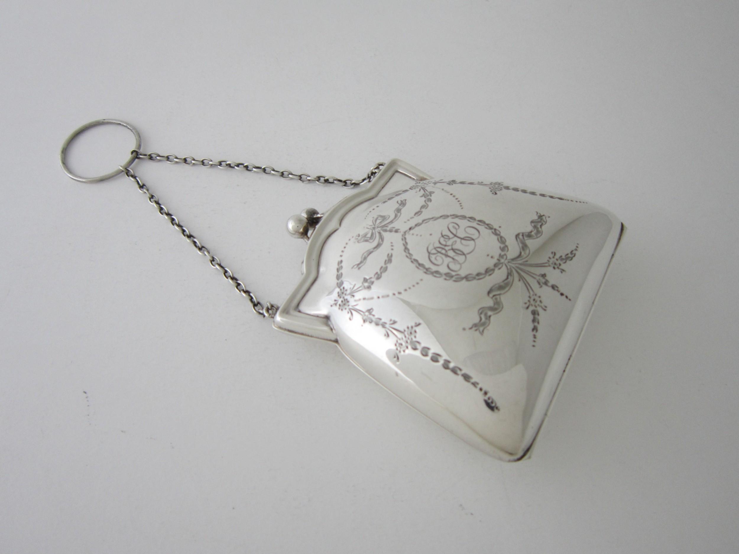 antique george v sterling silver purse