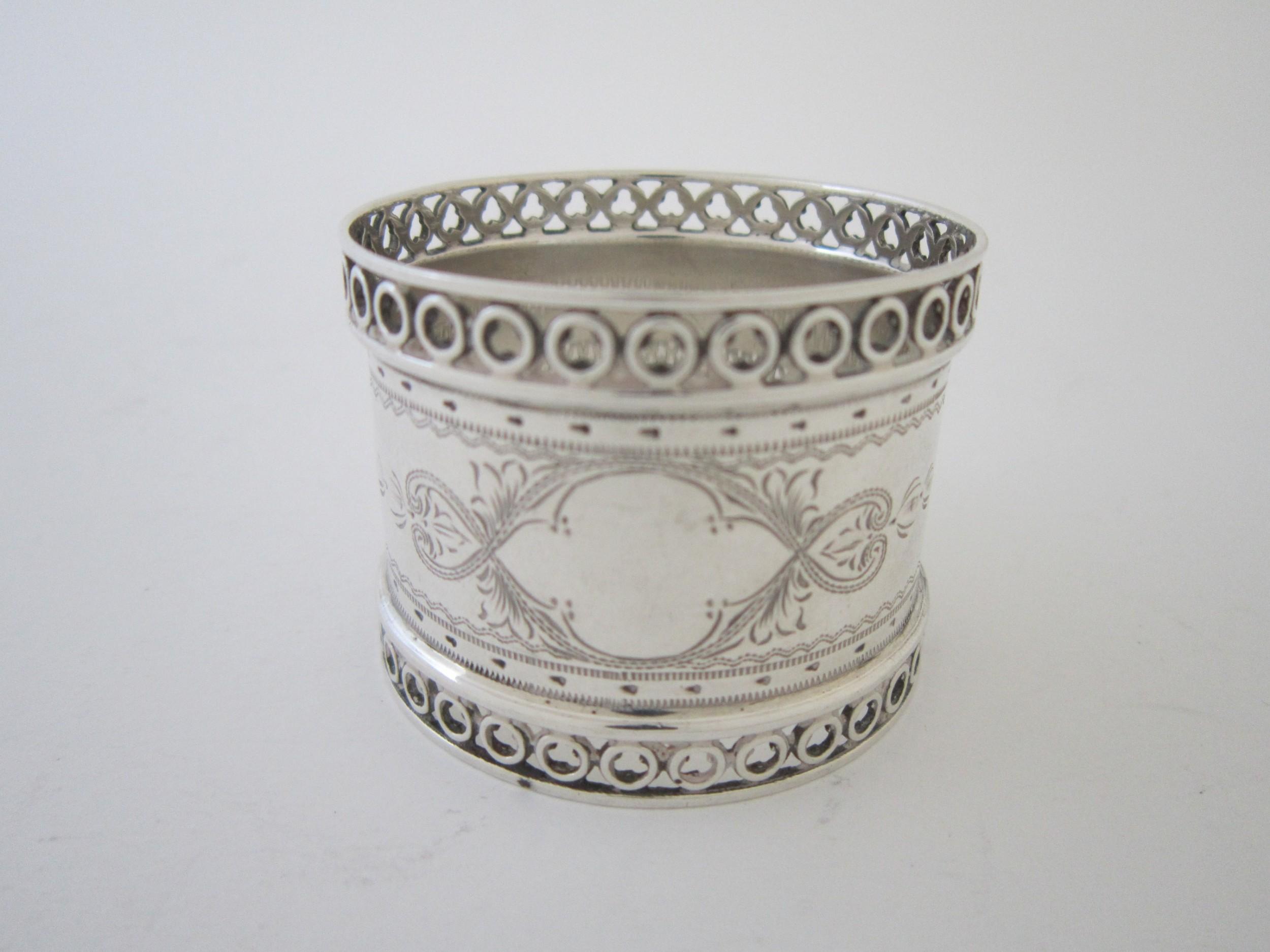 antique edwardian sterling silver napkin ring