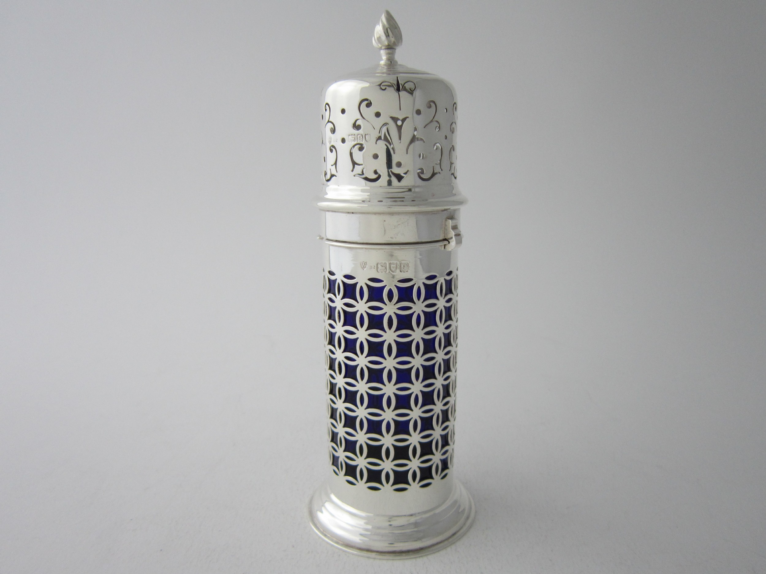 antique victorian sterling silver and glass sugar caster