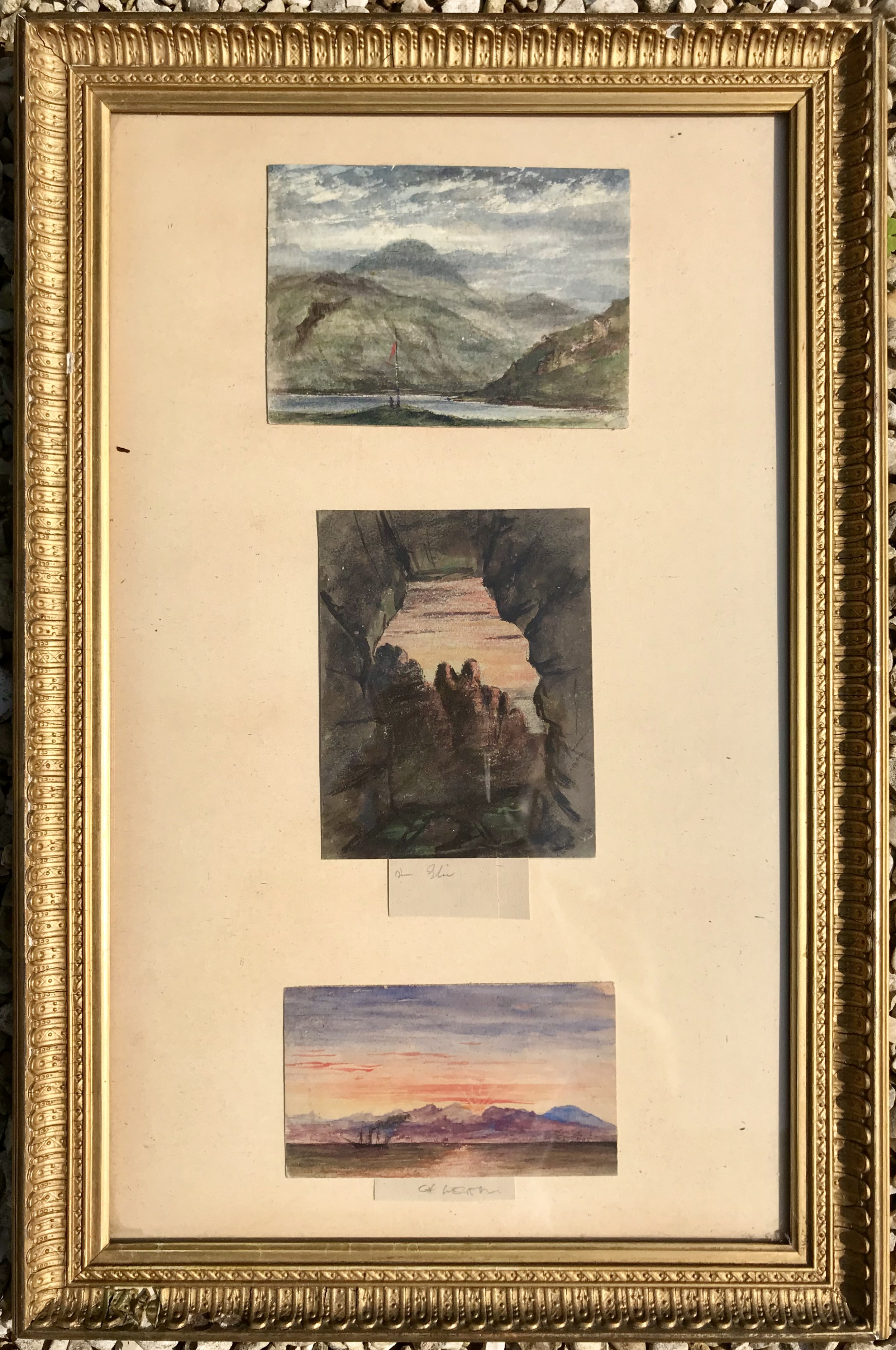 three watercolour studies by william brodie rsa 1815 1881 mid19th century scottish art coastal scenes landscape and seascapes